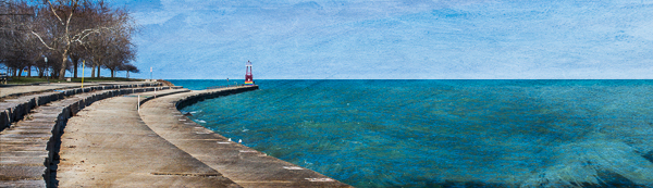 Pier at the beach on Lake Michigan in Chicago